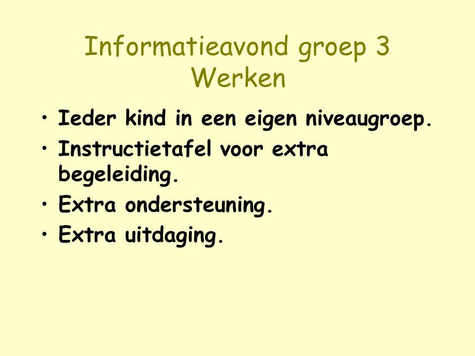 Informatieavond groep 3 Werken