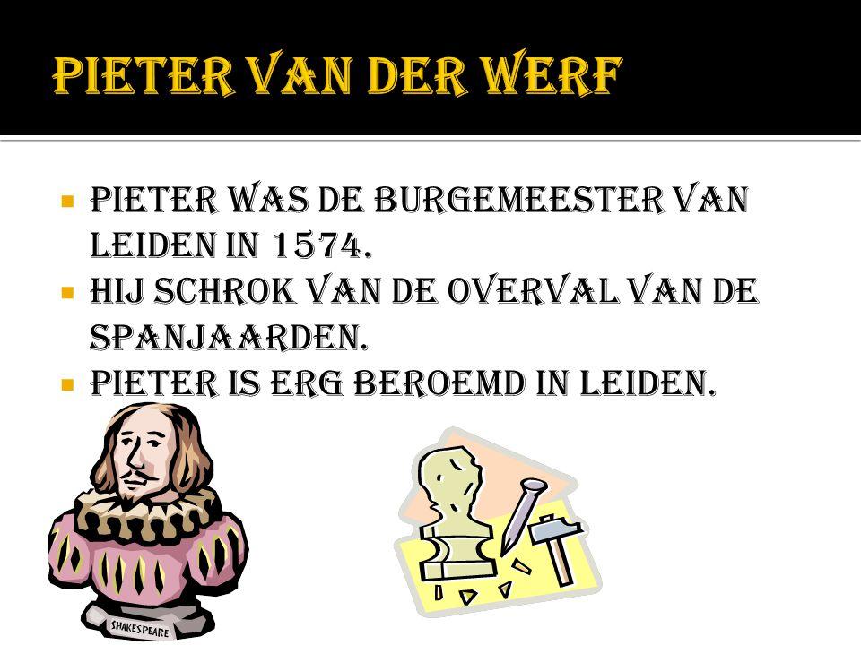 Pieter van der Werf Pieter was de burgemeester van leiden in 1574.