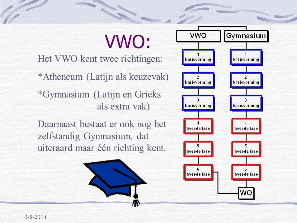 VWO: Het VWO kent twee richtingen: Atheneum (Latijn als keuzevak)