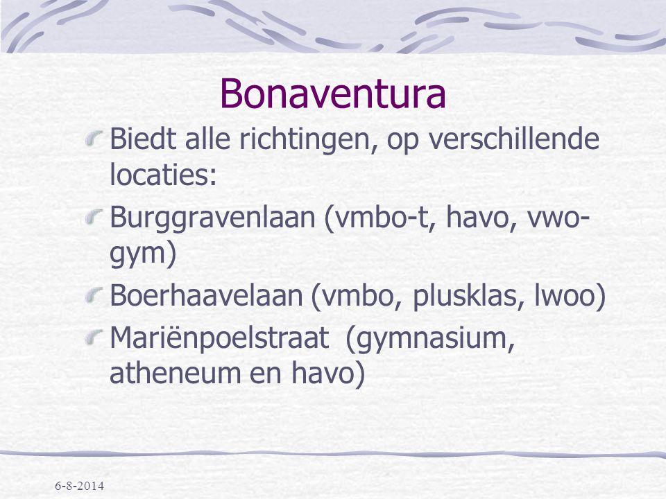 Bonaventura Biedt alle richtingen, op verschillende locaties: