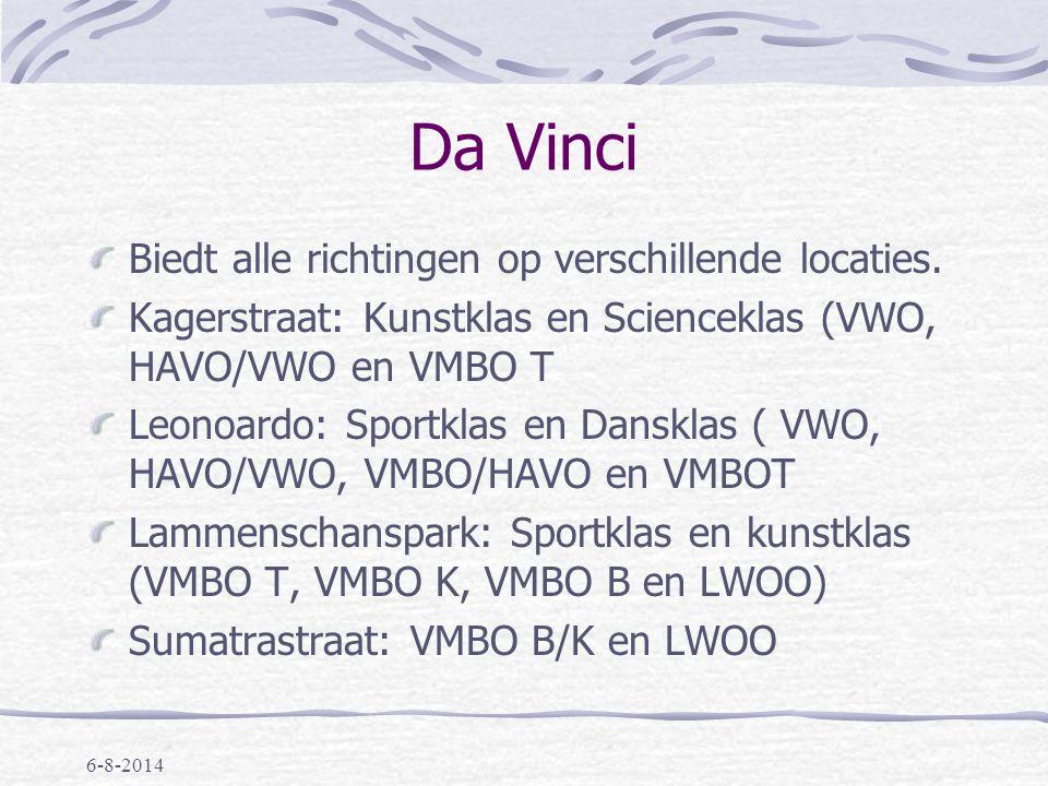 Da Vinci Biedt alle richtingen op verschillende locaties.
