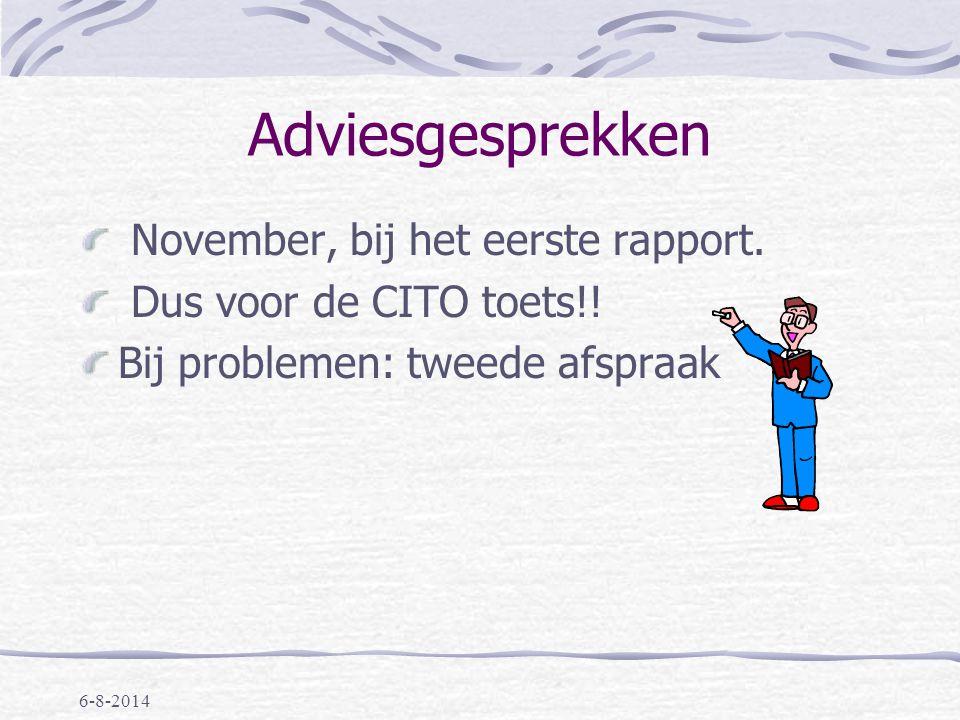 Adviesgesprekken November, bij het eerste rapport.