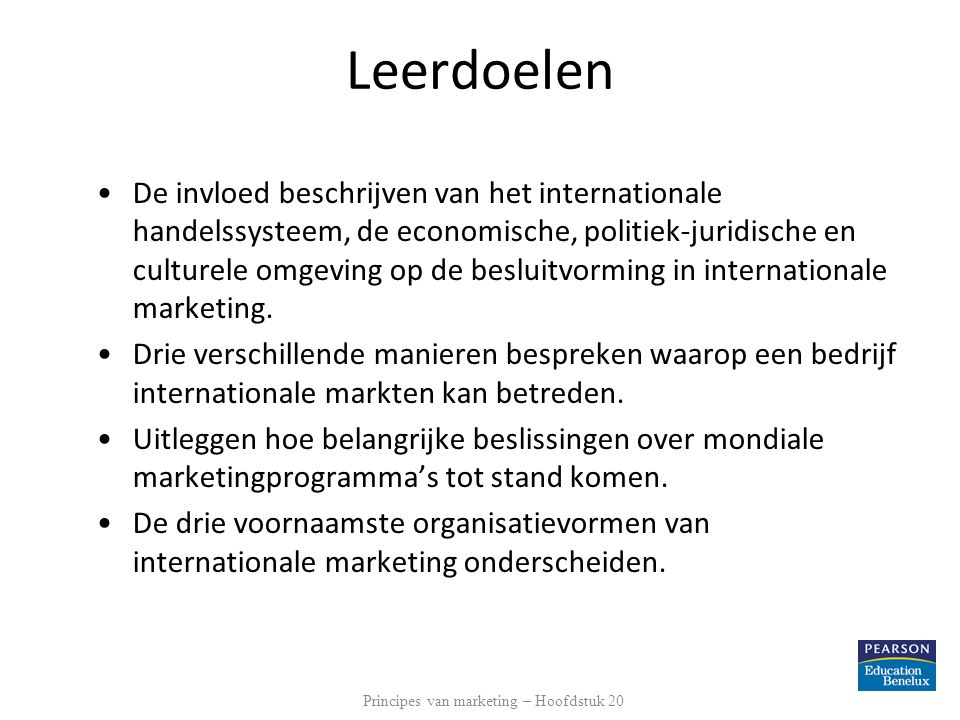Principes van marketing – Hoofdstuk 20