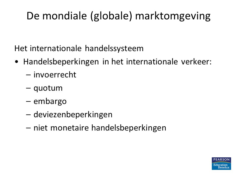 De mondiale (globale) marktomgeving