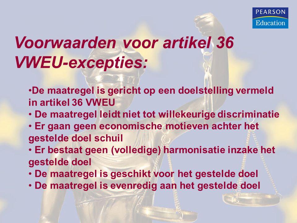 Voorwaarden voor artikel 36 VWEU-excepties: