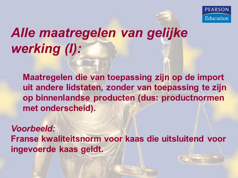 Alle maatregelen van gelijke werking (I):