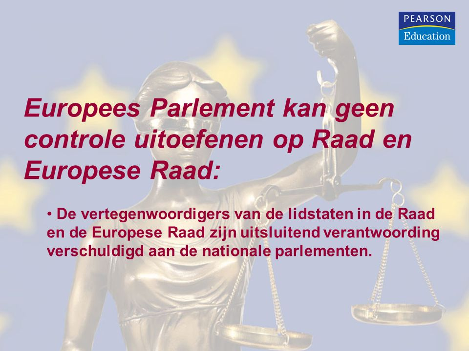 Europees Parlement kan geen controle uitoefenen op Raad en Europese Raad: