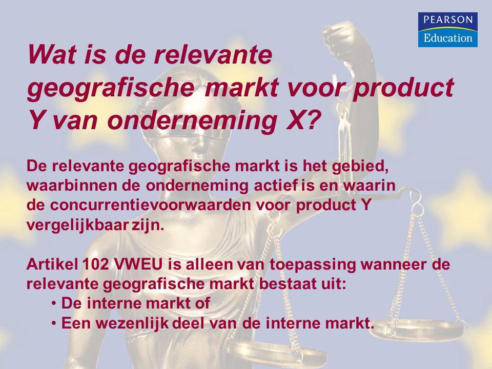 geografische markt voor product Y van onderneming X