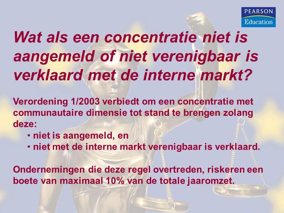 Wat als een concentratie niet is aangemeld of niet verenigbaar is verklaard met de interne markt
