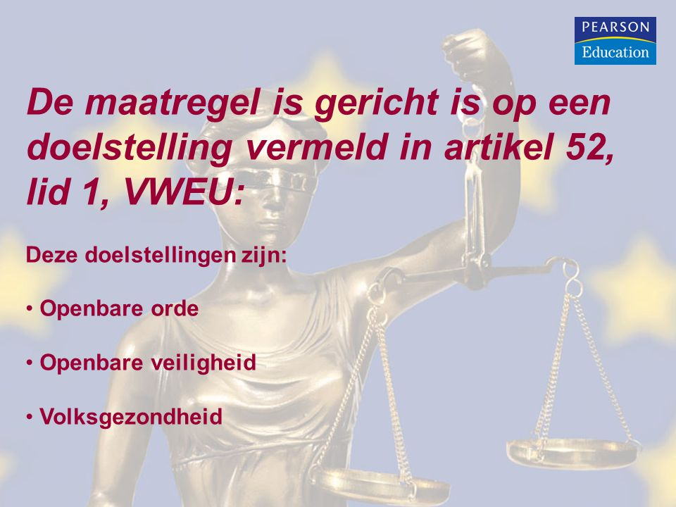 De maatregel is gericht is op een doelstelling vermeld in artikel 52, lid 1, VWEU: