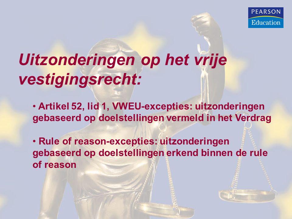 Uitzonderingen op het vrije vestigingsrecht: