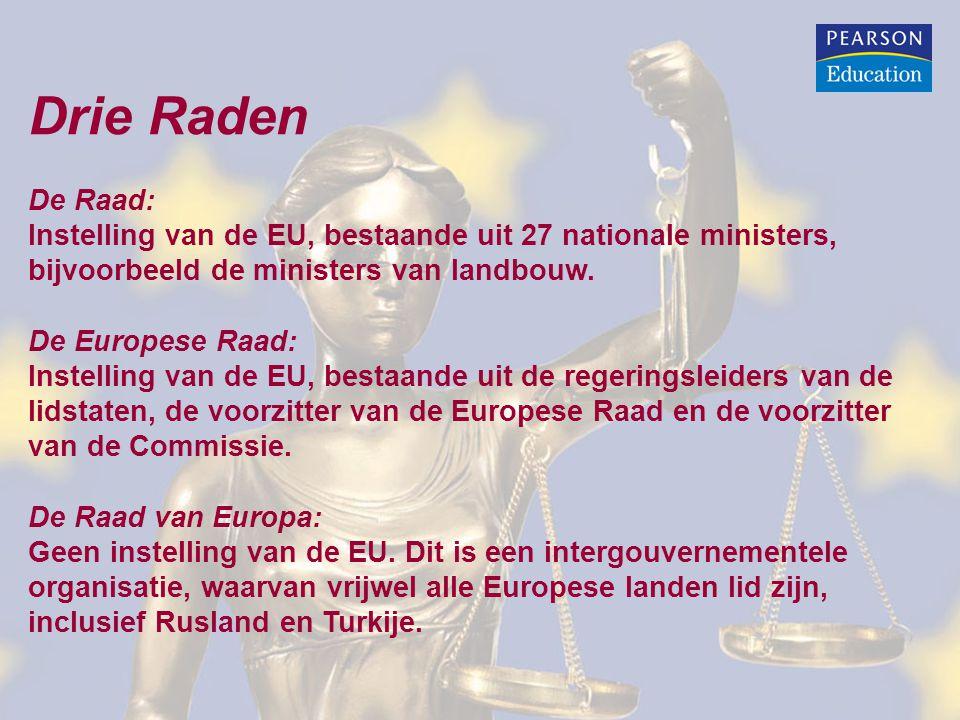 Drie Raden De Raad: Instelling van de EU, bestaande uit 27 nationale ministers, bijvoorbeeld de ministers van landbouw.