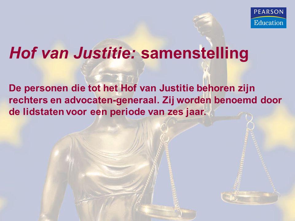 Hof van Justitie: samenstelling