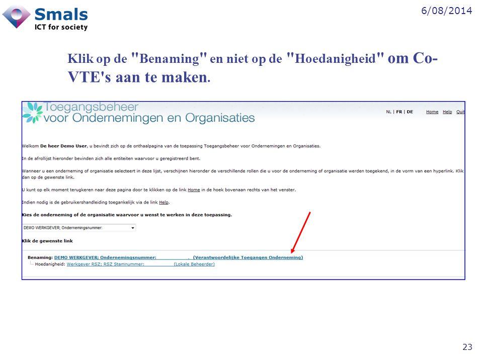 Klik op de Benaming en niet op de Hoedanigheid om Co-VTE s aan te maken.