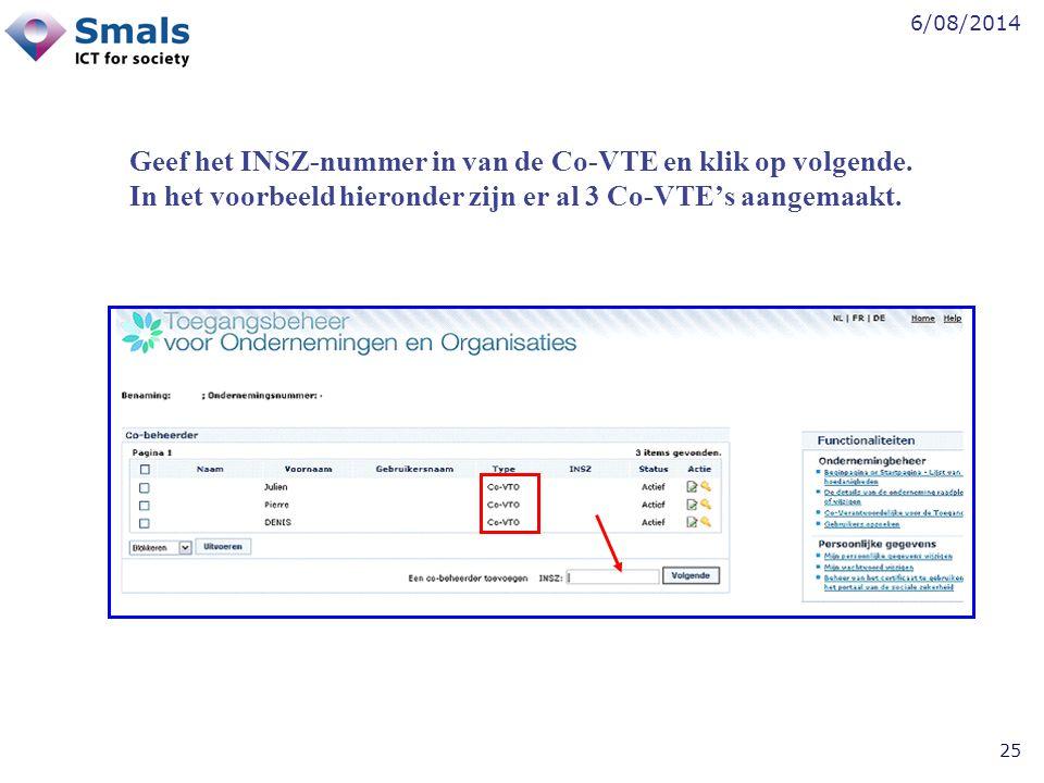 Geef het INSZ-nummer in van de Co-VTE en klik op volgende