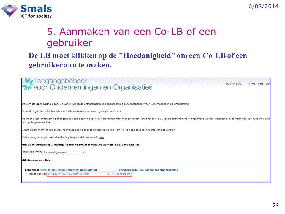 5. Aanmaken van een Co-LB of een gebruiker