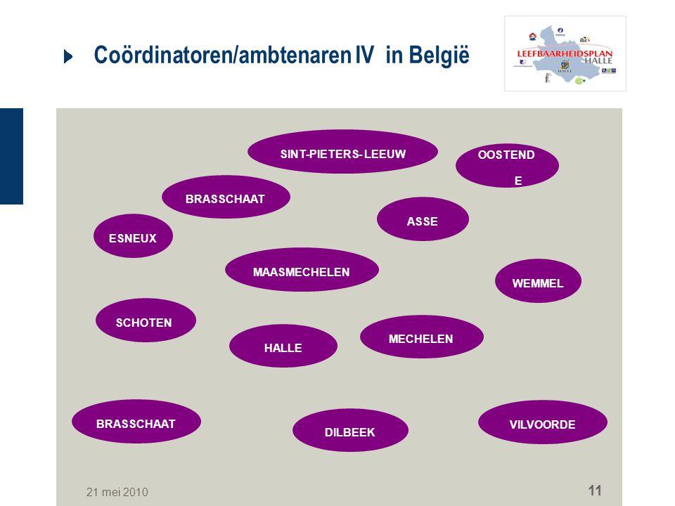 Coördinatoren/ambtenaren IV in België
