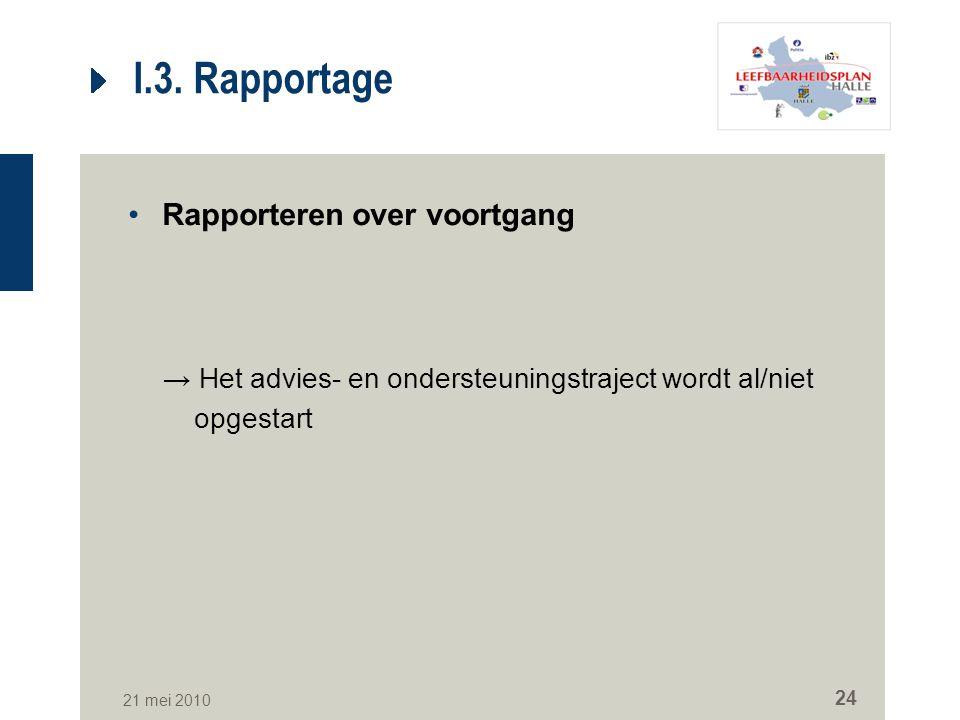 I.3. Rapportage Rapporteren over voortgang