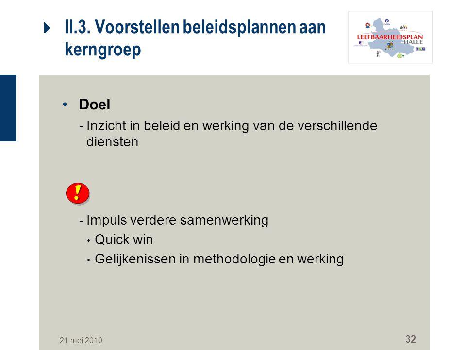 II.3. Voorstellen beleidsplannen aan kerngroep