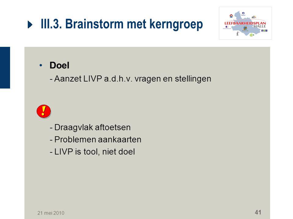 III.3. Brainstorm met kerngroep