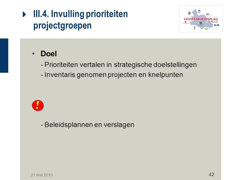 III.4. Invulling prioriteiten projectgroepen