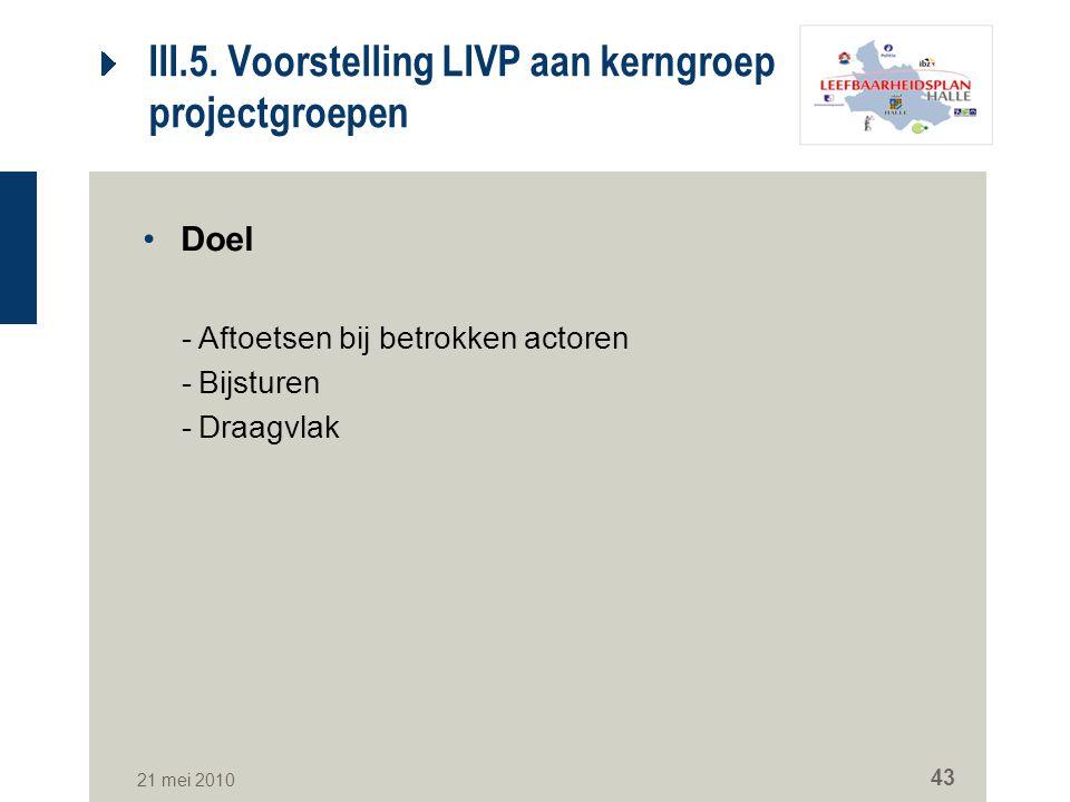 III.5. Voorstelling LIVP aan kerngroep en projectgroepen