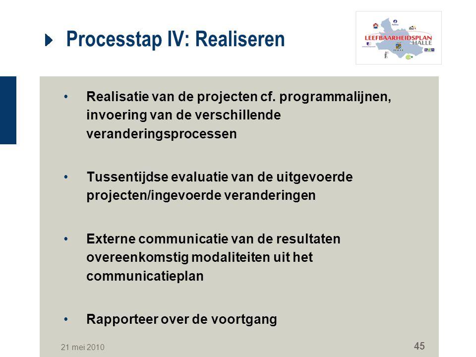 Processtap IV: Realiseren