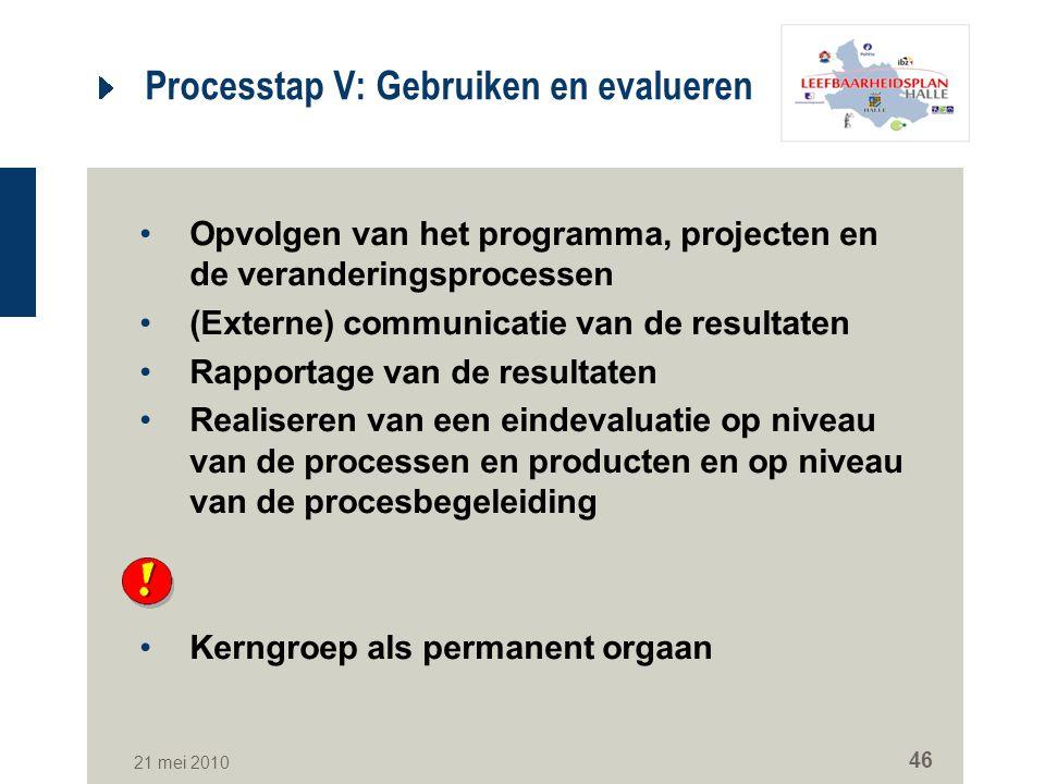 Processtap V: Gebruiken en evalueren