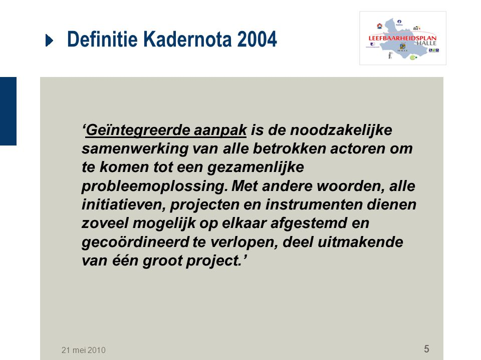 Definitie Kadernota 2004