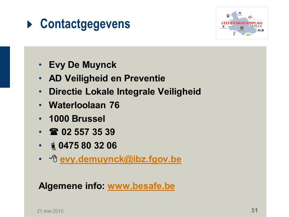 Contactgegevens Evy De Muynck AD Veiligheid en Preventie