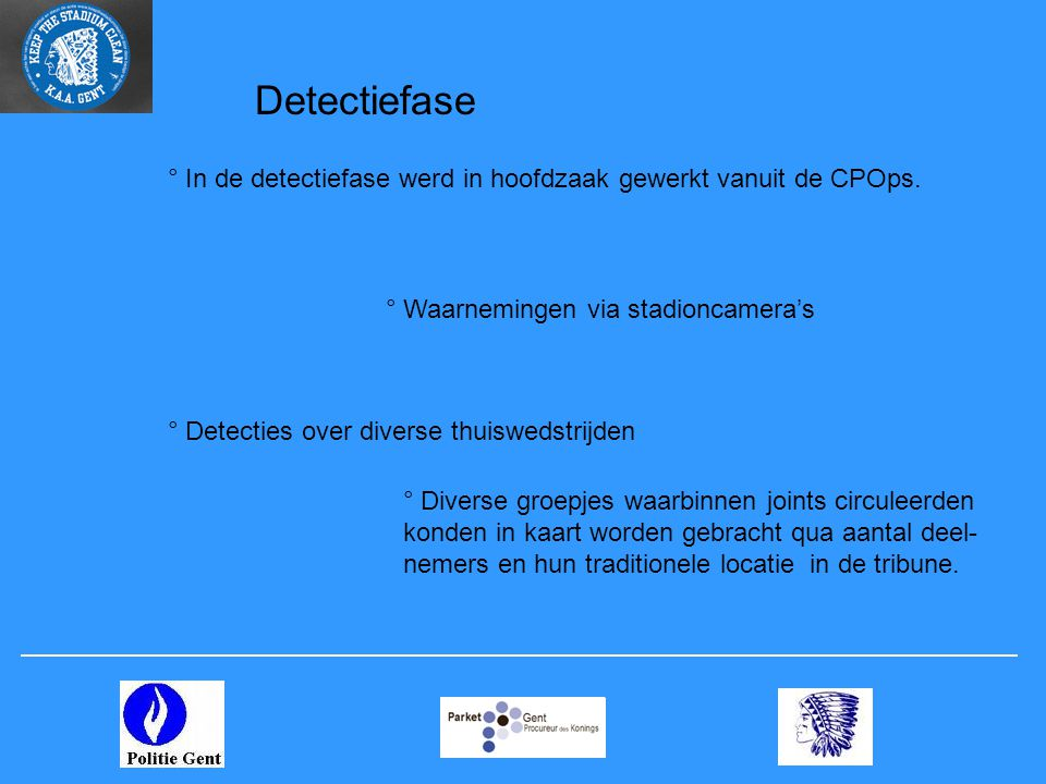 Detectiefase ° In de detectiefase werd in hoofdzaak gewerkt vanuit de CPOps. ° Waarnemingen via stadioncamera's.