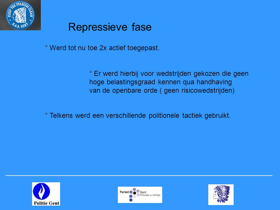 Repressieve fase ° Werd tot nu toe 2x actief toegepast.