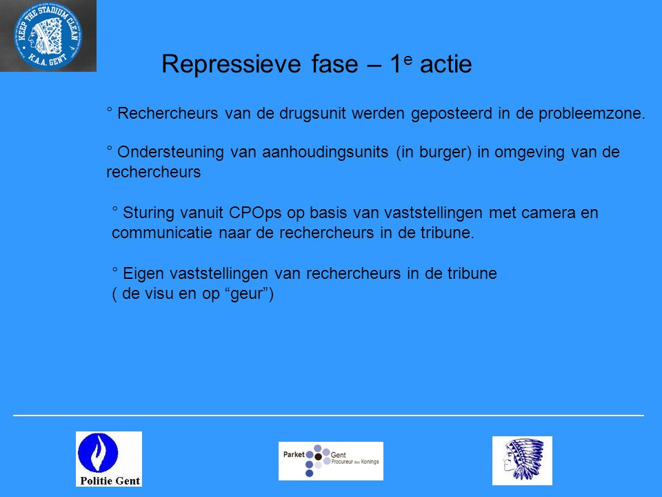 Repressieve fase – 1e actie