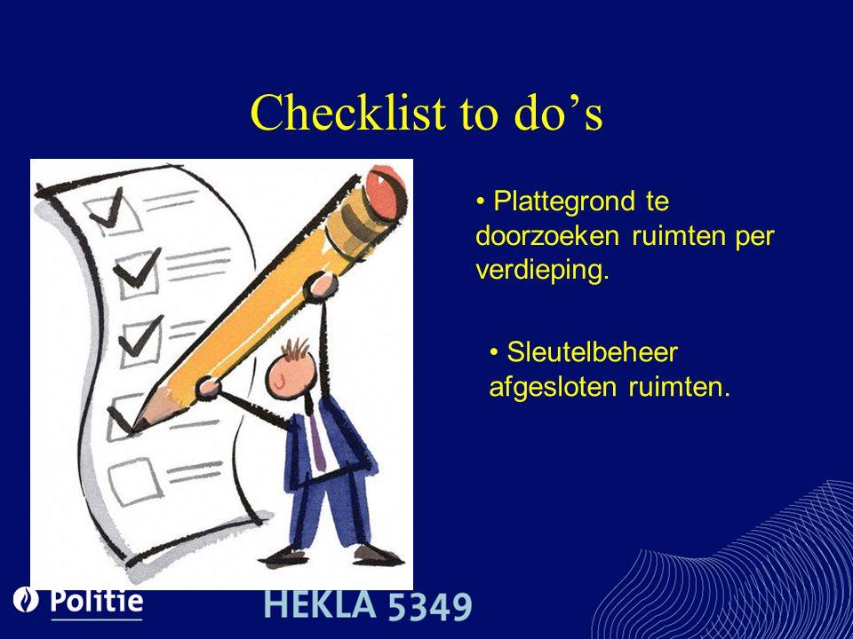 Checklist to do's Plattegrond te doorzoeken ruimten per verdieping.