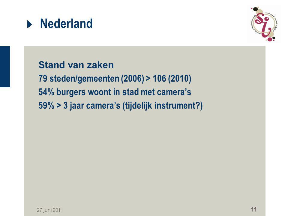Nederland Stand van zaken 79 steden/gemeenten (2006) > 106 (2010)