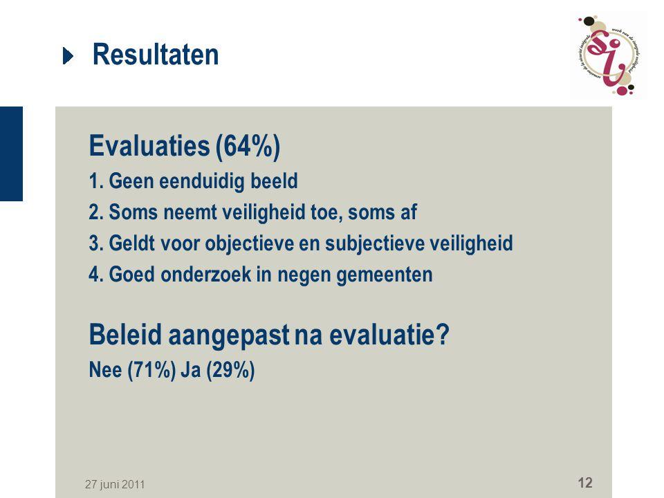 Resultaten Evaluaties (64%) Beleid aangepast na evaluatie