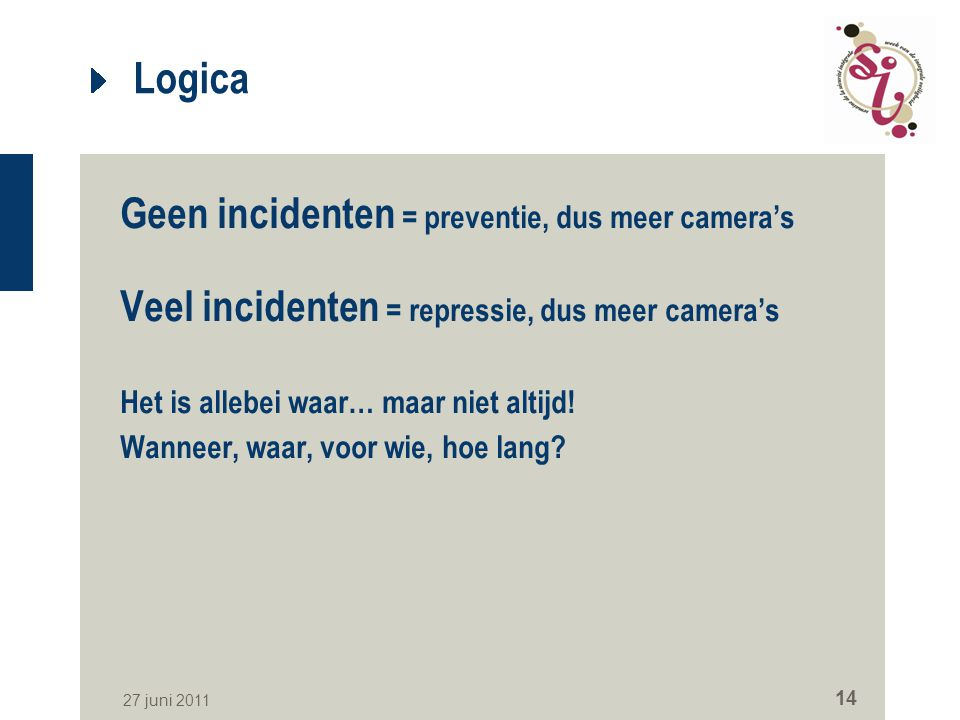 Logica Geen incidenten = preventie, dus meer camera's