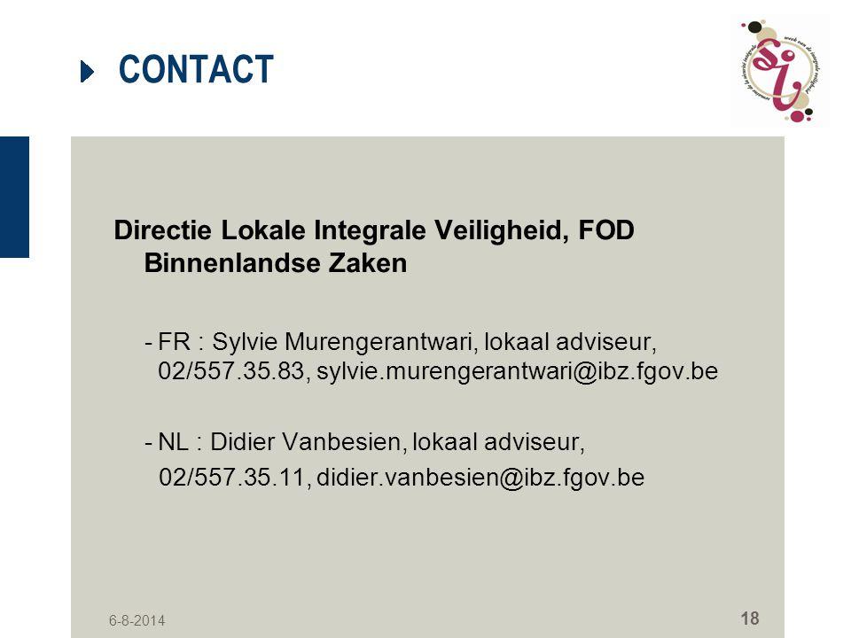 CONTACT Directie Lokale Integrale Veiligheid, FOD Binnenlandse Zaken