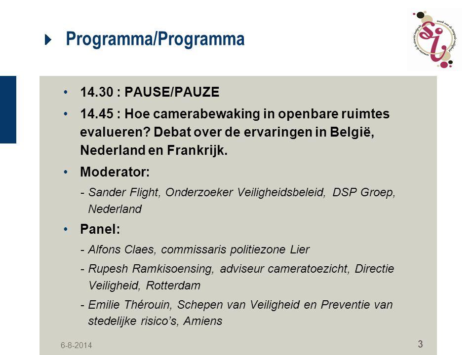 Programma/Programma 14.30 : PAUSE/PAUZE
