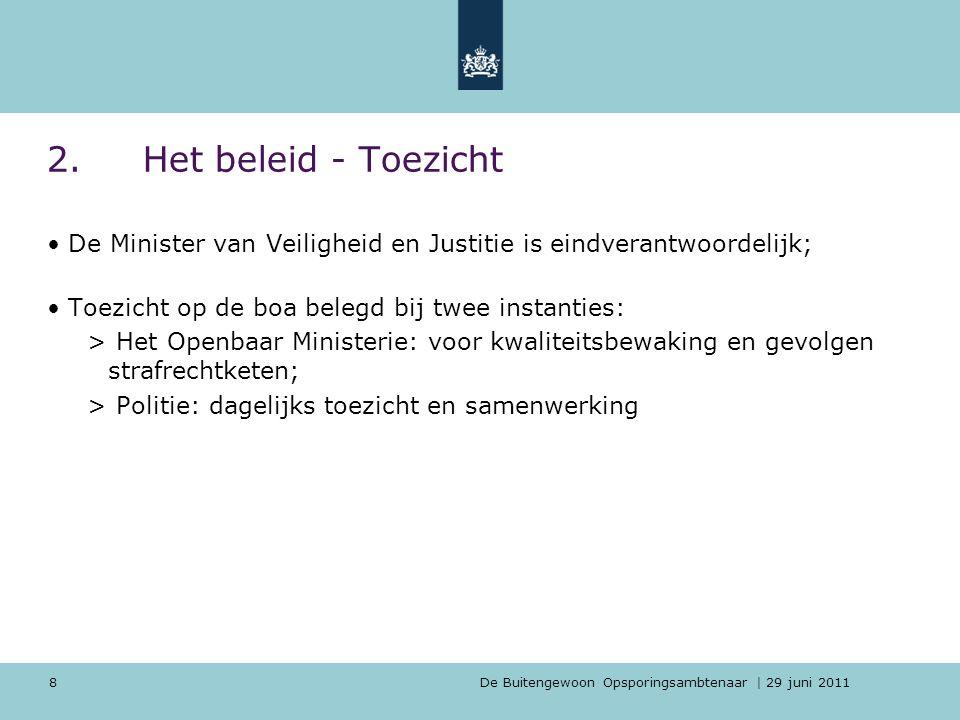 2. Het beleid - Toezicht De Minister van Veiligheid en Justitie is eindverantwoordelijk; Toezicht op de boa belegd bij twee instanties: