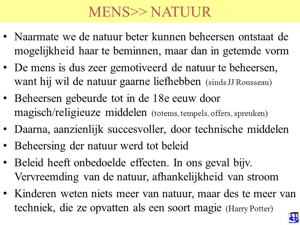 MENS>> NATUUR HvdSande RuG. Naarmate we de natuur beter kunnen beheersen ontstaat de mogelijkheid haar te beminnen, maar dan in getemde vorm.