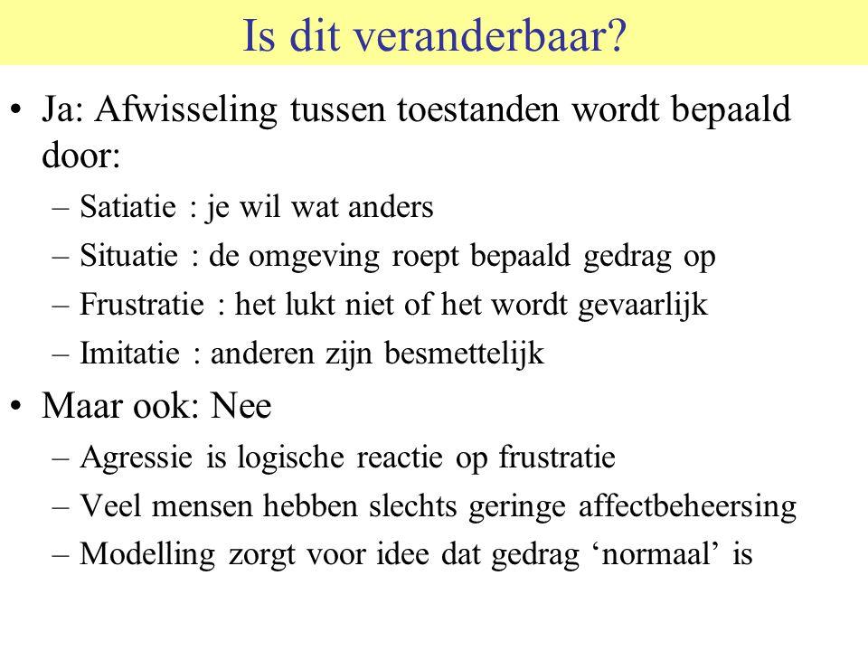 Is dit veranderbaar © 2006 JP van de Sande RuG. Ja: Afwisseling tussen toestanden wordt bepaald door: