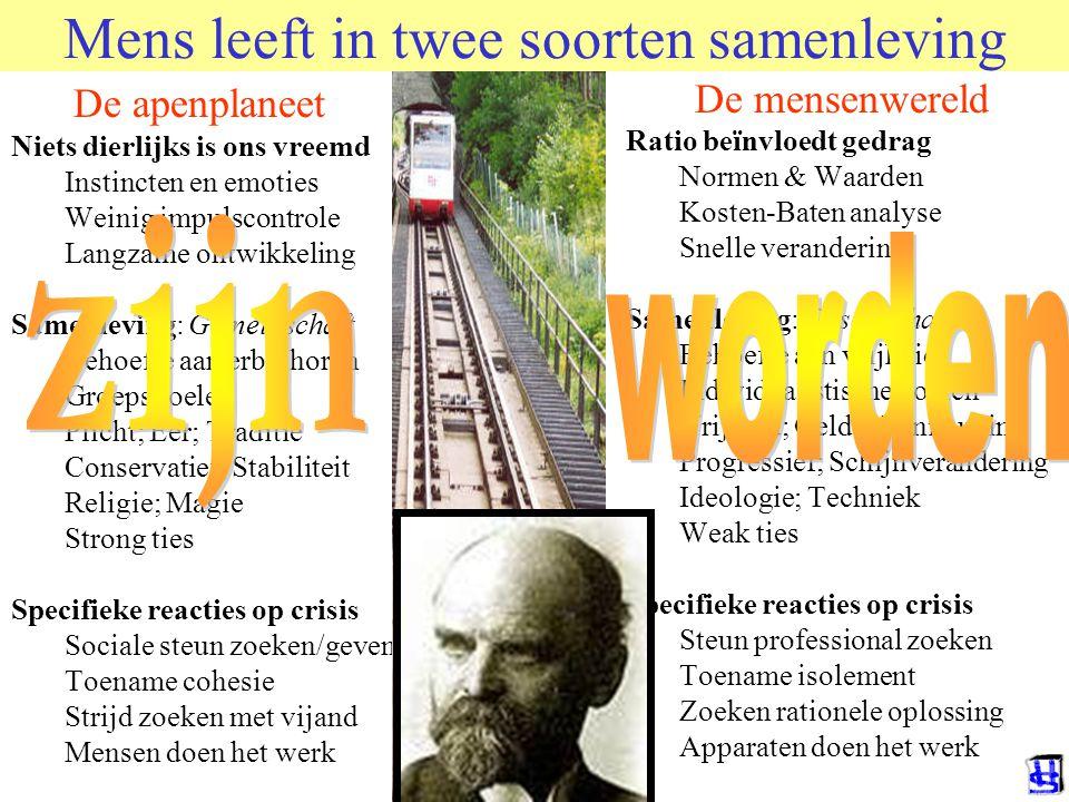 Mens leeft in twee soorten samenleving