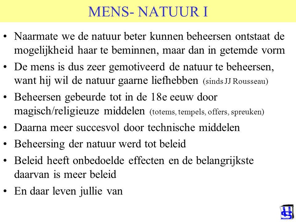 MENS- NATUUR I Naarmate we de natuur beter kunnen beheersen ontstaat de mogelijkheid haar te beminnen, maar dan in getemde vorm.