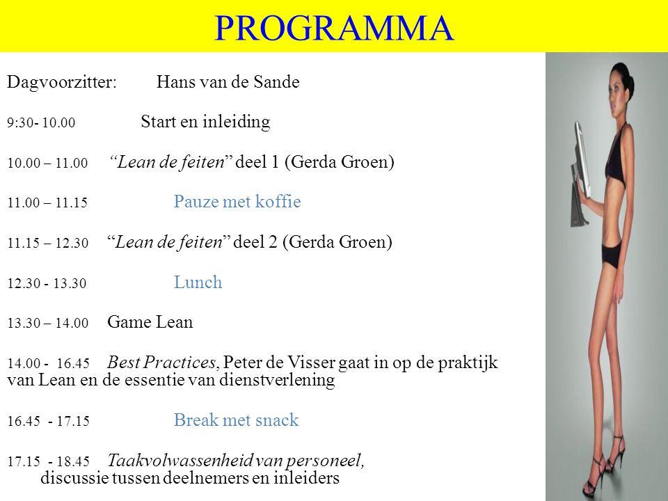 PROGRAMMA Dagvoorzitter: Hans van de Sande