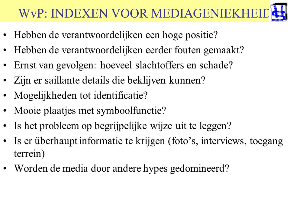 WvP: INDEXEN VOOR MEDIAGENIEKHEID
