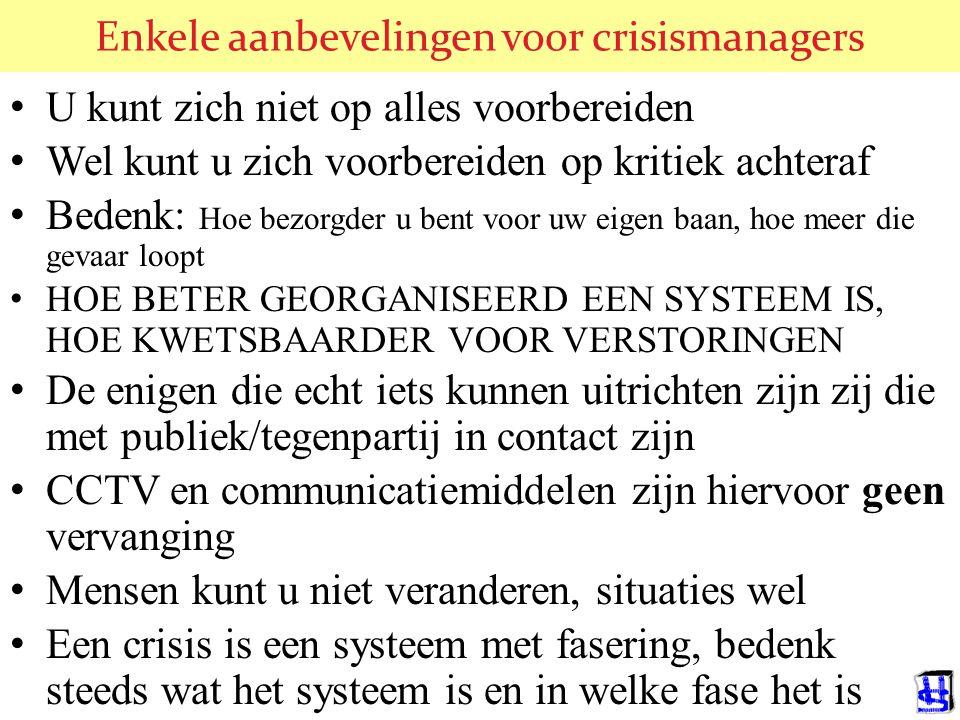 Enkele aanbevelingen voor crisismanagers