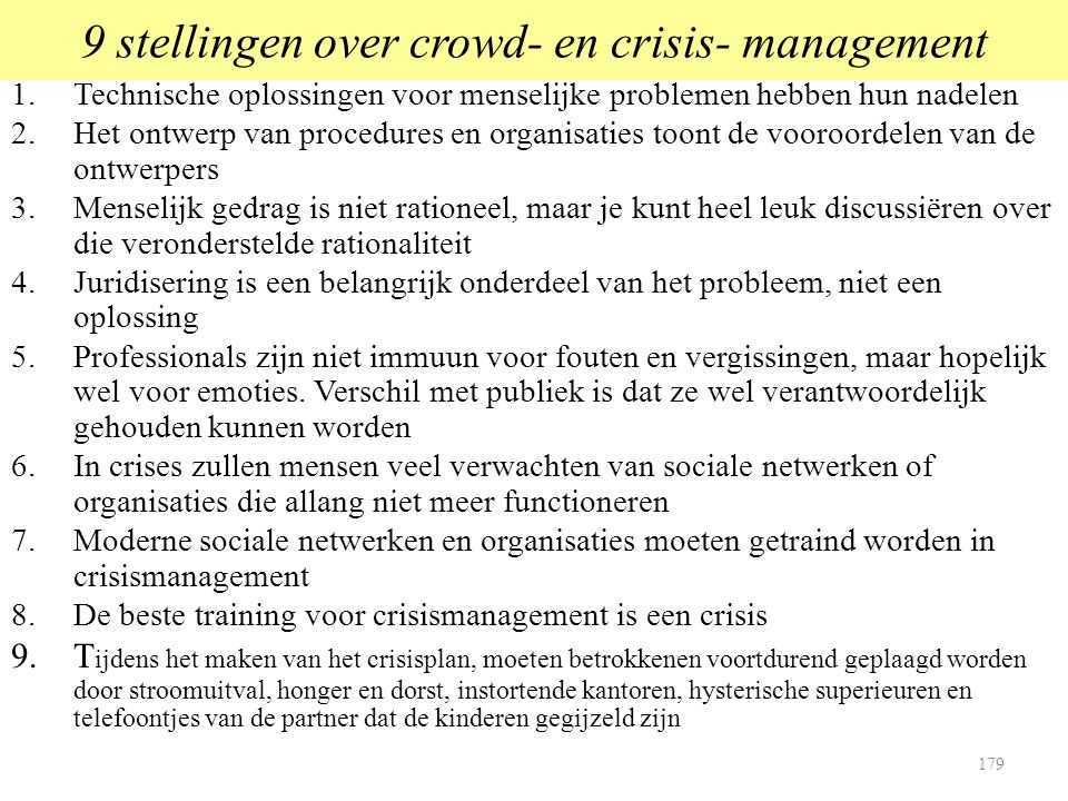 9 stellingen over crowd- en crisis- management