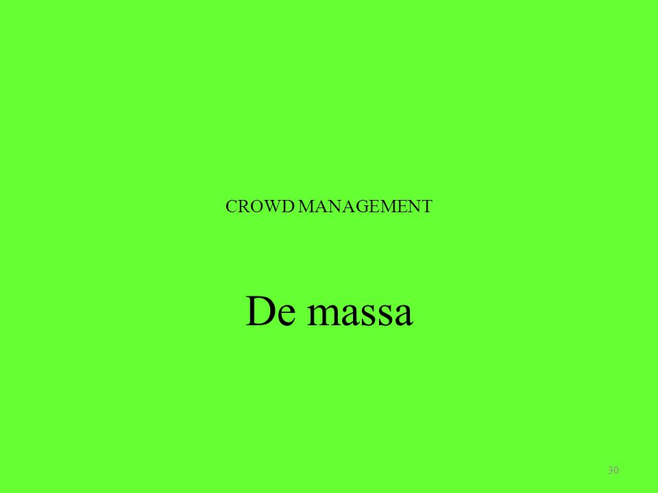 CROWD MANAGEMENT De massa 30