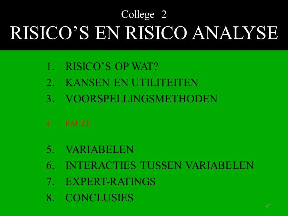 College 2 RISICO'S EN RISICO ANALYSE